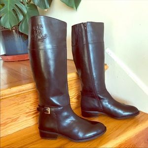 Ralph Lauren embossed black leather riding boots